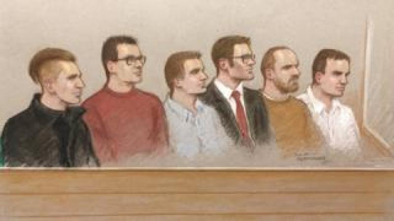Six defendants court sketch
