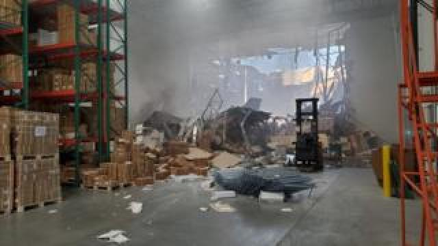 A warehouse employee recorded a video of the crash site aftermath