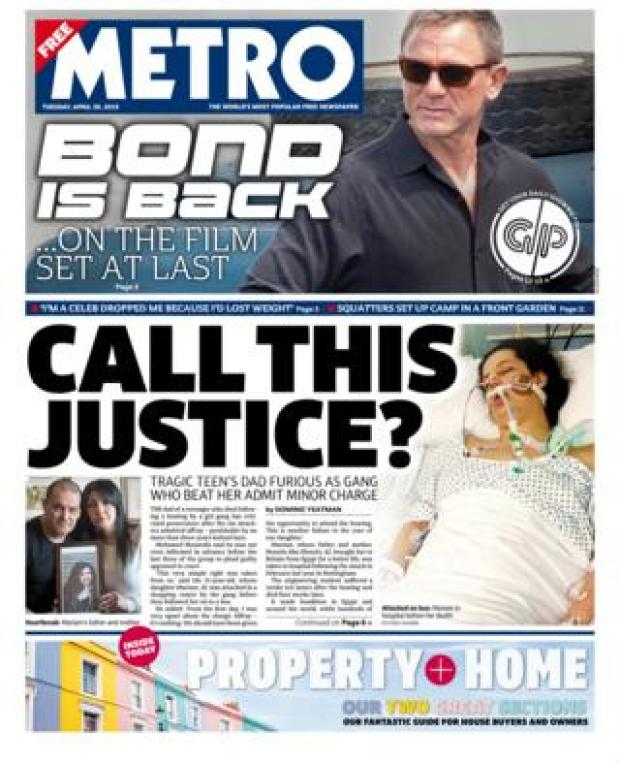 Metro front page - 30/04/19