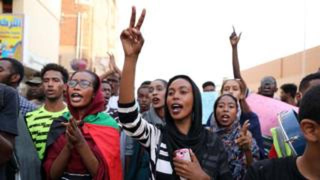 Sudanese students protest against the killing of five people in al-Obeid a day earlier, in Khartoum, Sudan, 30 July 2019