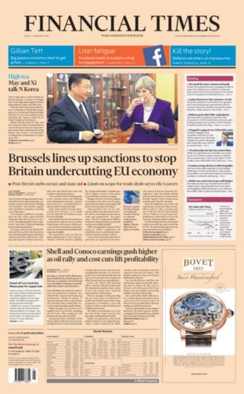 Financial Times front page - 02/02/18