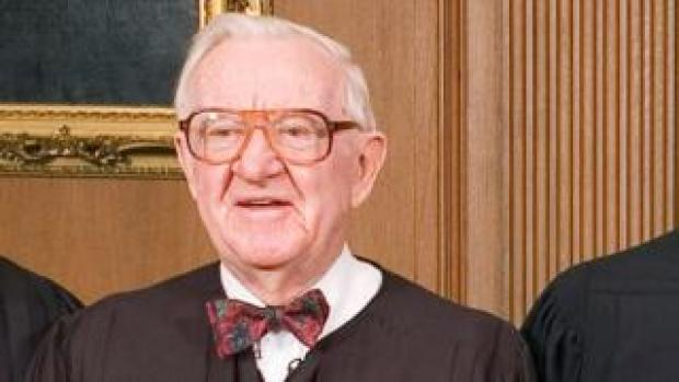 """FILE PHOTO: Justice John Paul Stevens in the Chief Justice""""s Conference Room at the Supreme Court in Washington"""