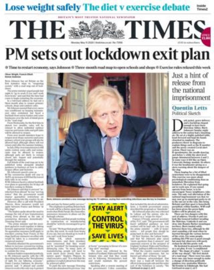 The Times front page 11 May