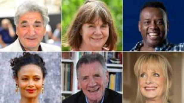 Clockwise from top left: Jim Carter, Julia Donaldson, David Grant, Twiggy, Michael Palin, Thandie Newton