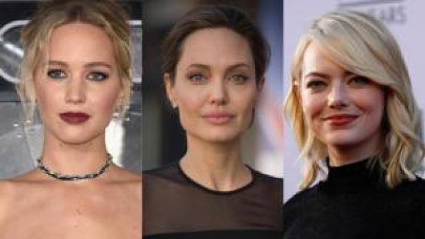 (left to right) Jennifer Lawrence, Angelina Jolie and Emma Stone