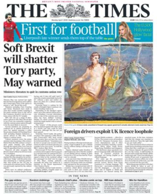 Monday's The Times front page