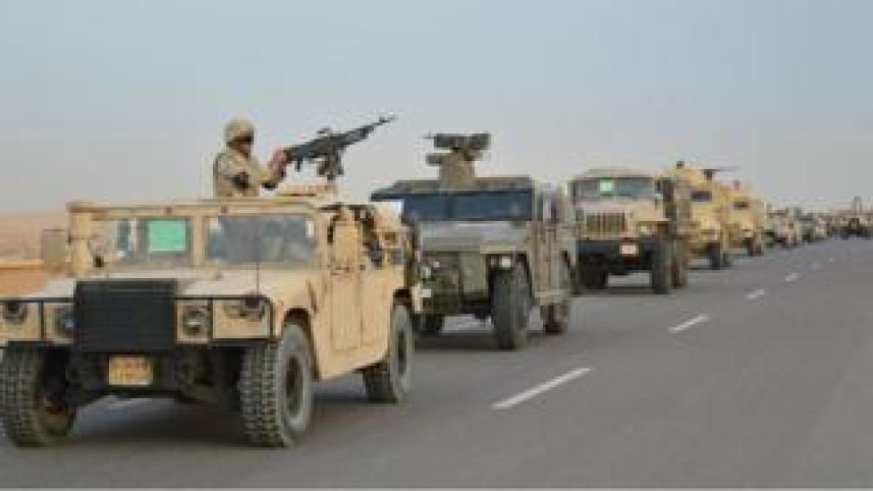 Egyptian tanks on a road to Northern Sinai