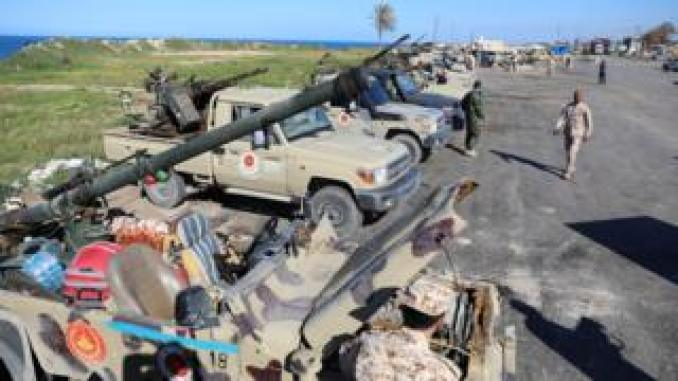 Militias from Misrata defend the outskirts of Tripoli, 6 April