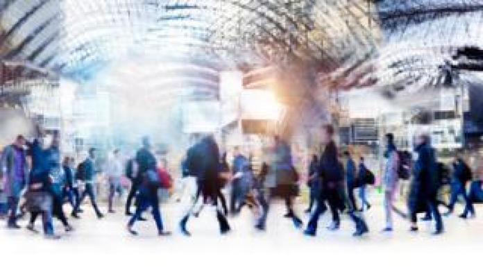 Commuters walk fast