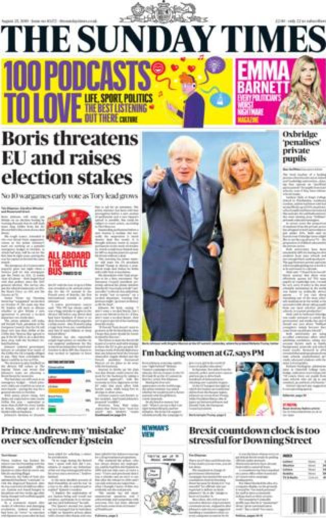 Sunday Times front page, 25/8/19