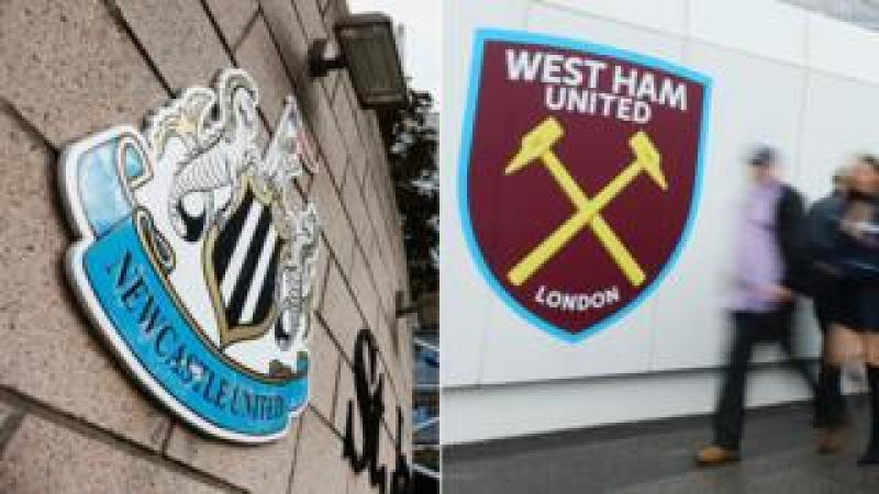 Newcastle and West Ham badges