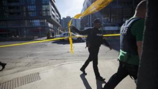 Police on Yonge Street in Toronto after the attack