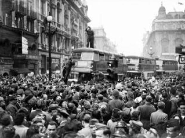 Crowds celebrating VE Day in Piccadilly Circus