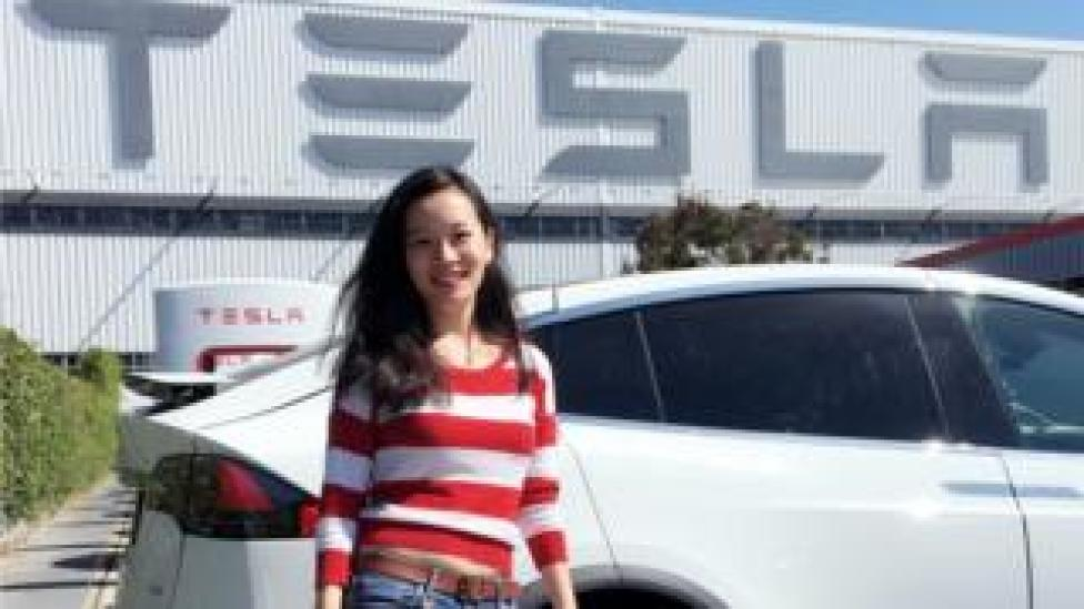 Han Zhu at the Tesla dealership