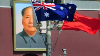 An Australian flag flying next to a Chinese flag in Tiananmen Square
