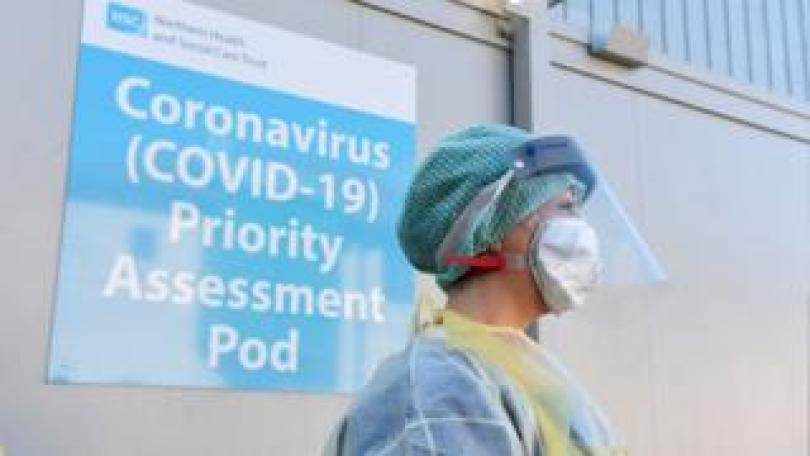An Emergency Department Nurse during a demonstration of the Coronavirus pod and COVID-19 virus testing procedures set-up beside the Emergency Department of Antrim Area Hospital, Co Antrim in Northern Ireland