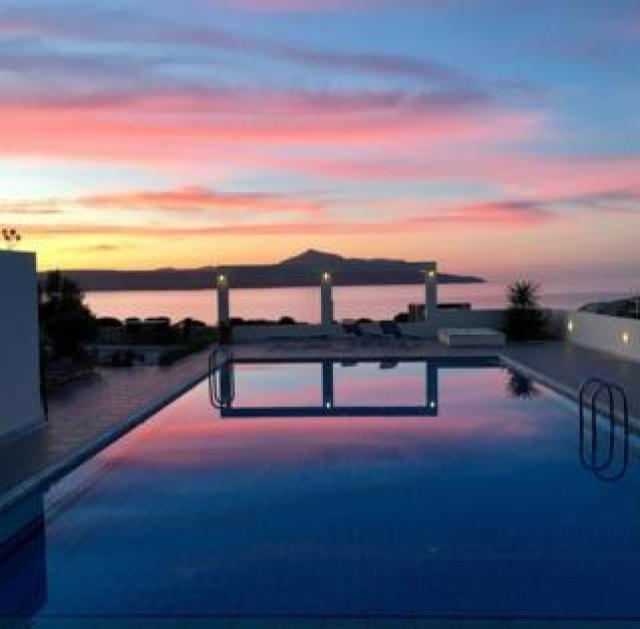 Sunset over a pool