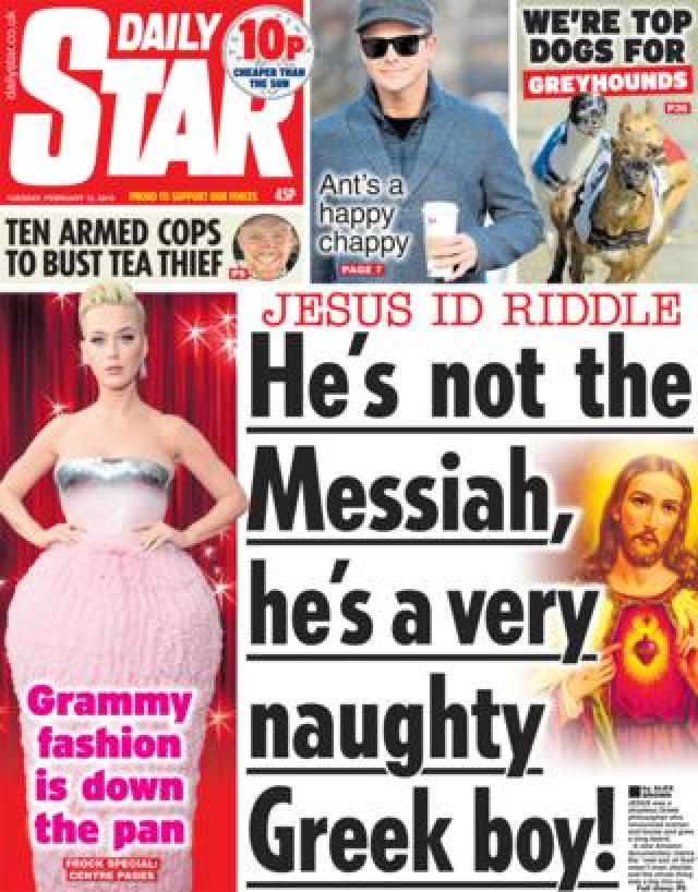 Daily Star front page 12/02/19