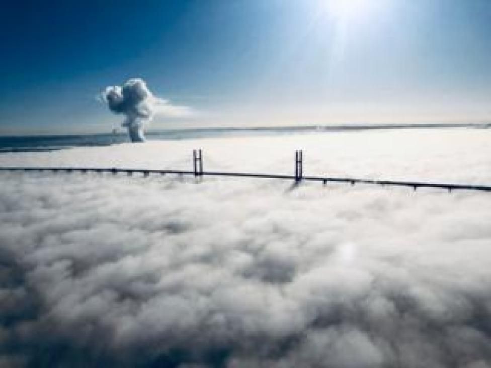 National Police Air Service picture of fog on Tuesday over the Prince of Wales Bridge - the second Severn crossing - which carries the M4 motorway between England and Wales.