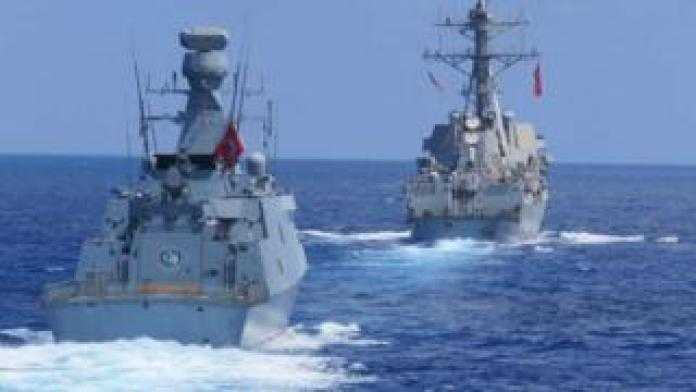 Archive photo of two Turkish warships