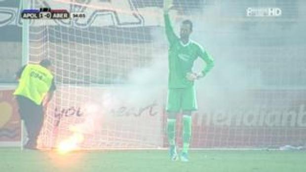 Flare in goal mouth