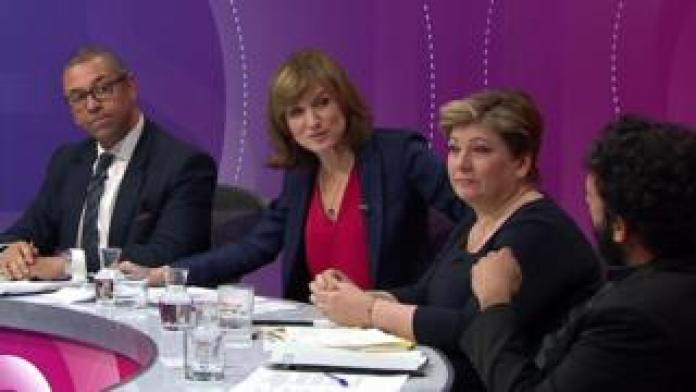 Fiona Bruce with James Cleverly, Emily Thornberry and NIsh Kumar