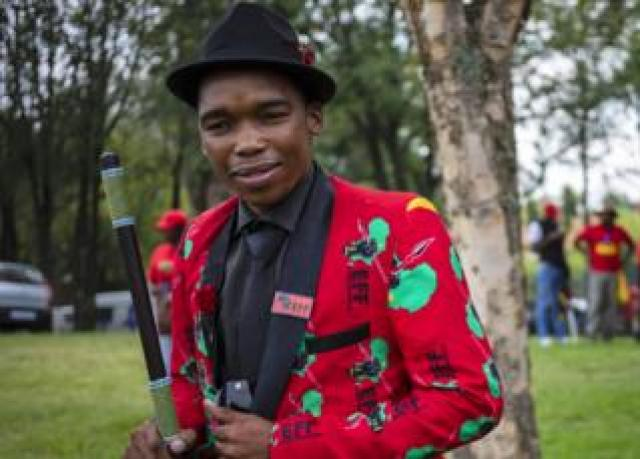 An EFF member in a red EFF print jacket in Johannesburg, South Africa - Friday 28 February 2020