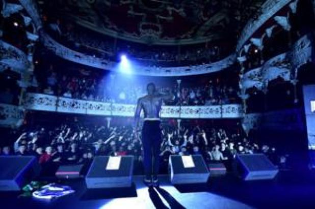 Stormzy performs to a sell-out crowd on the opening night of a tour promoting his Gang Signs and Prayer album at the Olympia Theatre on 29 March 2017 in Dublin.