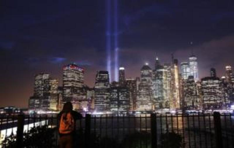 The Tribute in Light memorial lit up lower Manhattan near One World Trade Center
