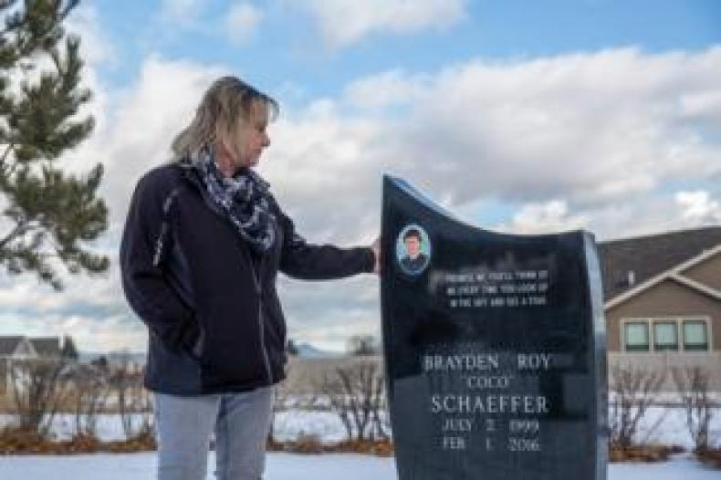 Melissa Schaeffer at her son's grave in Helena
