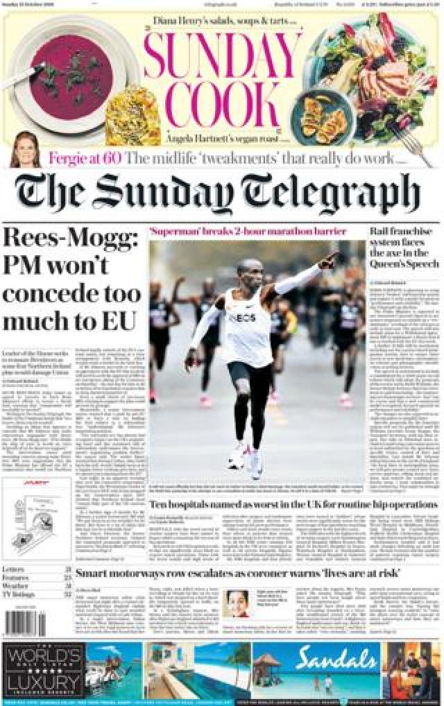 Front page of the Sunday Telegraph on 13 October 2019