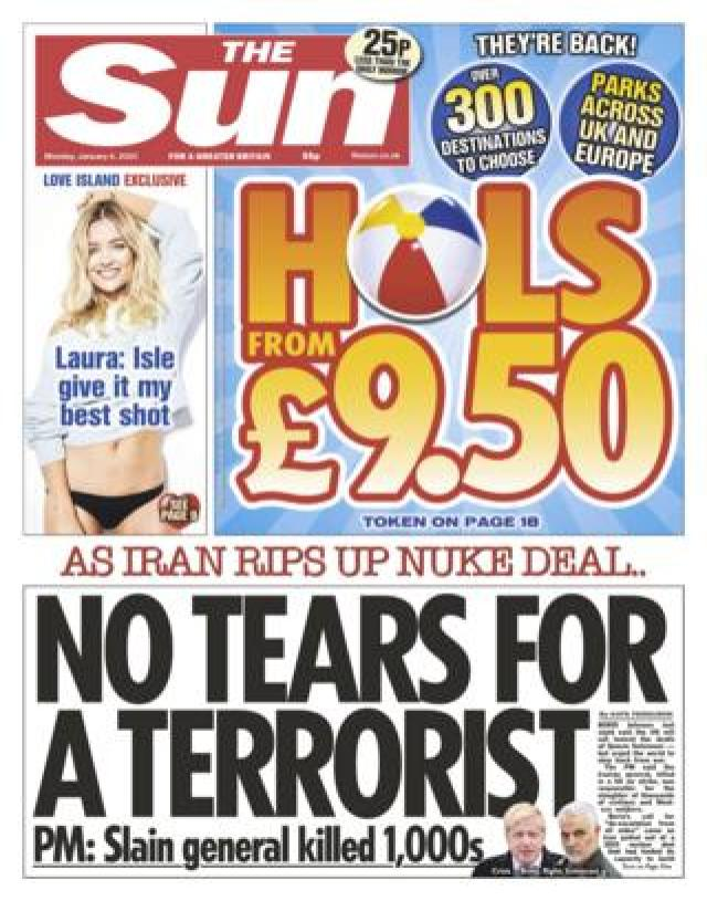 The Sun front page 6 January 2020