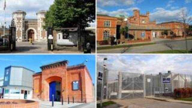 Clockwise from top left: Wormwood Scrubbs, Hull, Lindholme and Nottingham prisons