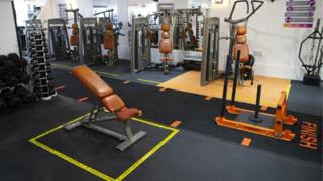 Oasis Gym in Stanford Le Hope prepares to reopen by installing social distancing signs