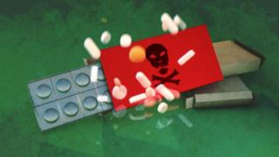 Illustrated abstract image of fake medication