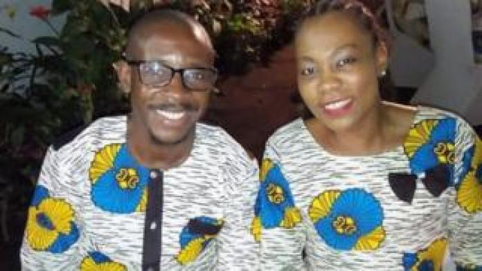 Jean-Félix Mwema Ngandu and Arlene Agneroh sit side by side in matching outfits in this photo taken by a mutual friend who uploaded it to Facebook