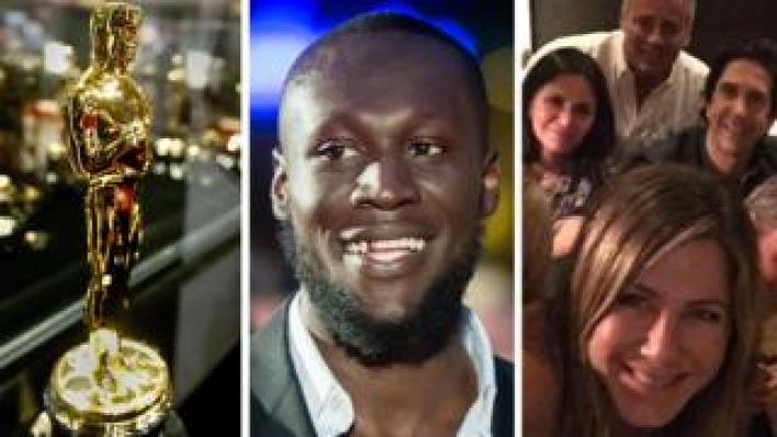 An Oscar award trophy, Stormzy and the cast of Friends