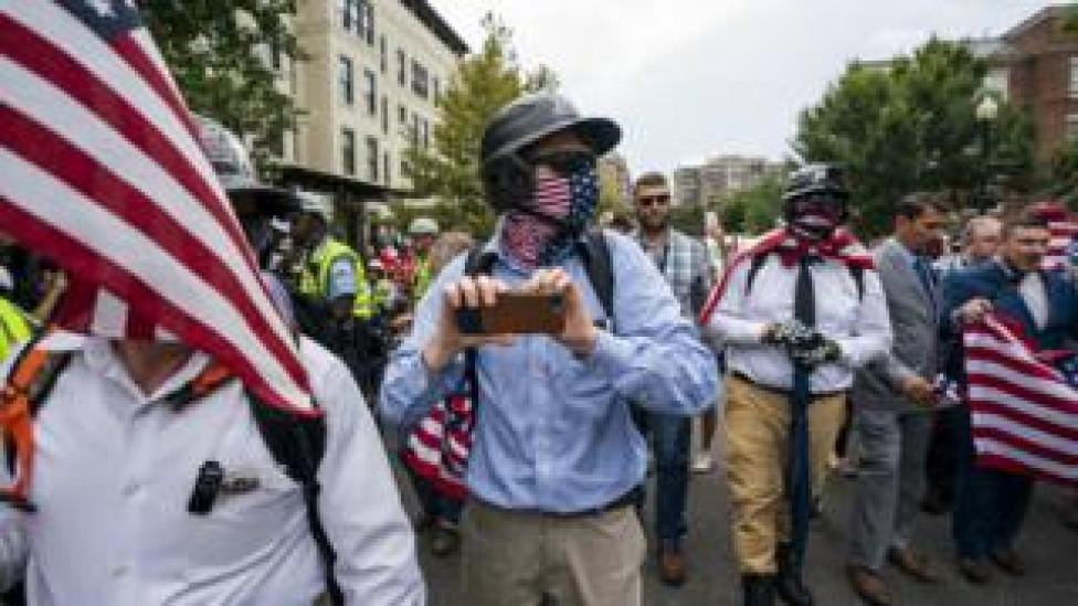 White supremacists gather for the Unite the Right 2 rally in Washington. August 12, 2018