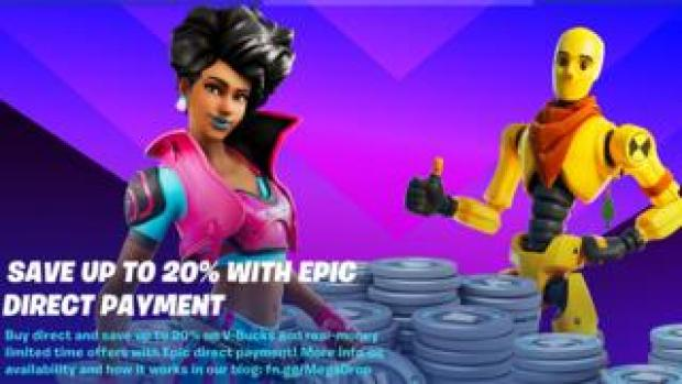 Fortnite characters stand in this promo image, promising cheaper funds