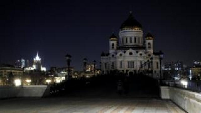 Christ the Saviour Cathedral with its illumination switched off during Earth Hour, in Moscow, Russia