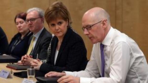Nicola Sturgeon at Scottish cabinet meeting