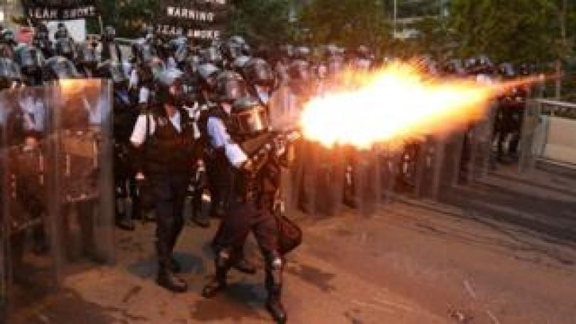 Police fire tear gas during the demonstration