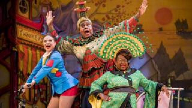 Gemma Sutton, Clive Rowe and Tameka Empson in Aladdin at the Hackney Empire in 2018