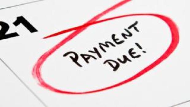 Payment due on calendar