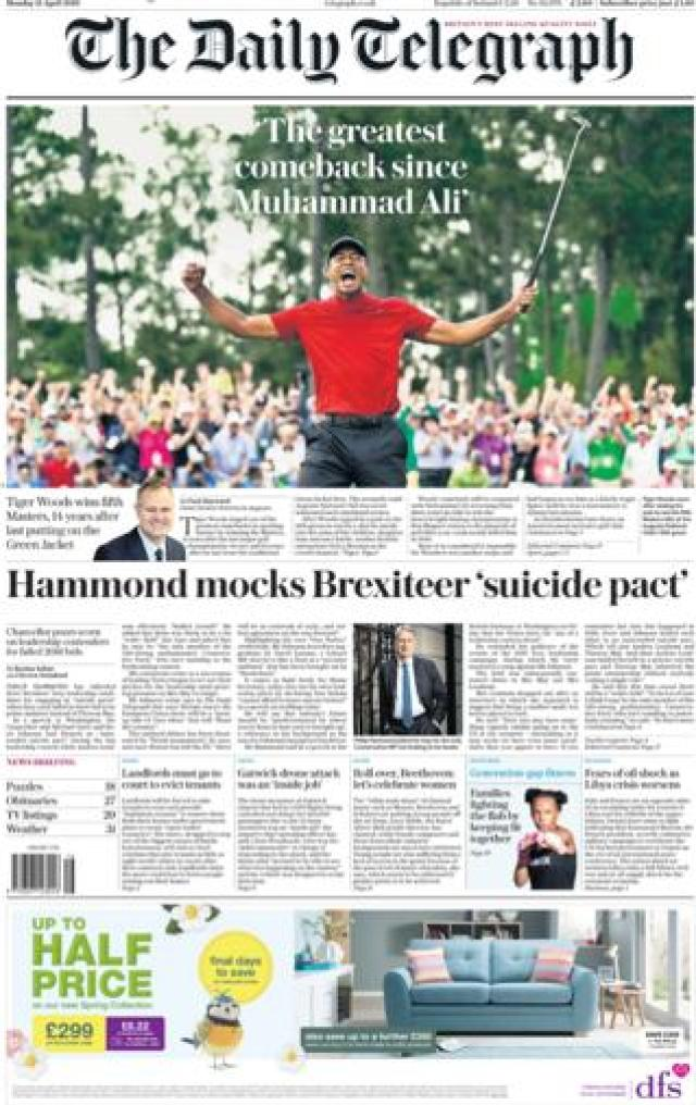 The Daily Telegraph front page, 15/4/19