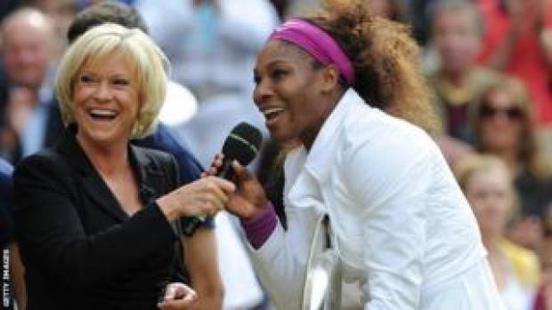 Sue Barker and Serena Williams