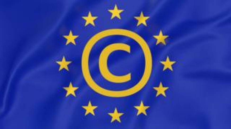 NEWS A composite image shows the EU flag, with a copyright symbol embedded in the centre of its iconic ring of yellow stars