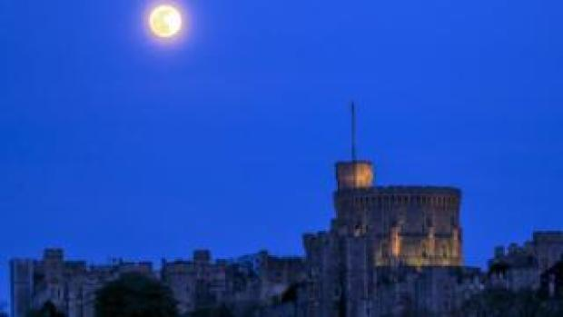 Pink supermoon rises above Windsor Castle
