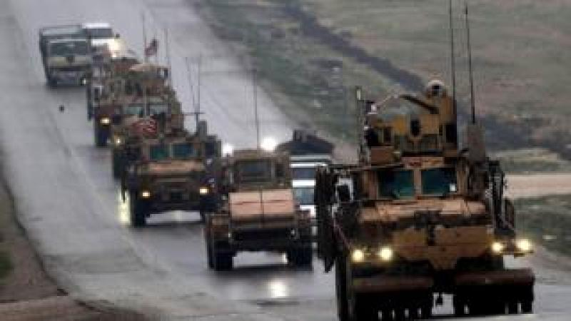 A convoy of armoured personnel carriers in Syria's northern city of Manbij. 30 Dec 2018