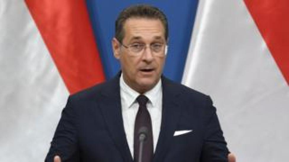 "Austria""s Vice-Chancellor and chairman of the Freedom Party FPOe Heinz-Christian Strache at a pres conference"